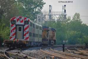 UP 7665 and New Metra Cars 0019 5-28-14 by eyepilot13