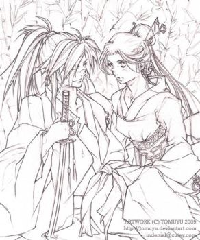 Lineart OC-  A Moment Of Peace by tomuyu