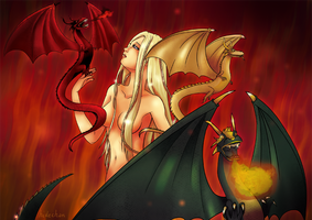 Danaerys and the dragons by hidechan
