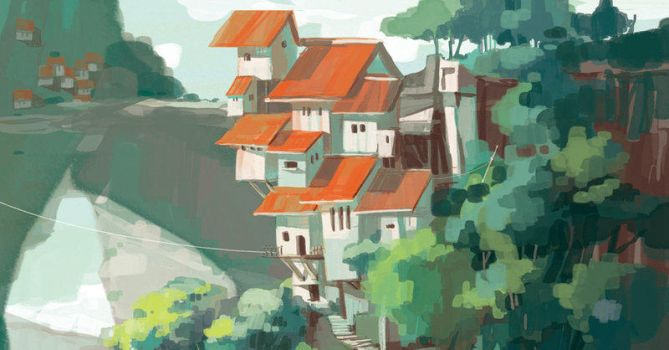 house us bulit on cliff by Saltychen