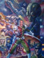 DAN DARE PITCH PAINTED ART 1998 by Johnny-Retro65