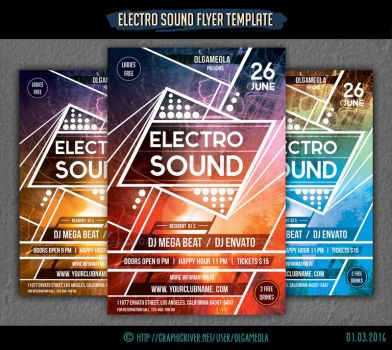 Electro Sound Flyer Template #1 by olgameola
