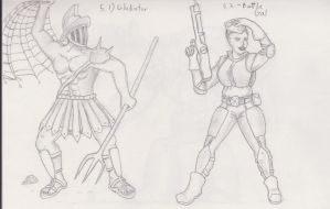 Figures 05 - Gladiator and Battle Gal by TheHiddenElephant
