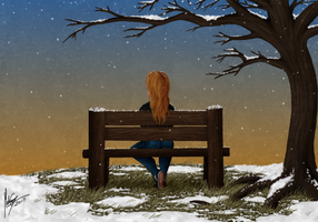 Girl On A Bench by xXgunderXx