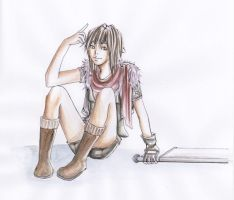 girl sitting by anotheryou