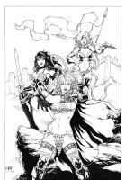 Red Sonja, Xena and Red Monika by Leomatos2014