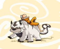 Aang and Appa by KimchiCrusader