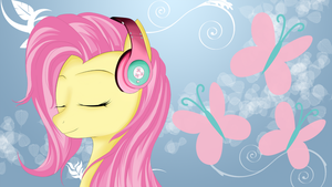 Fluttershy with headphones (blue) by AvareQ