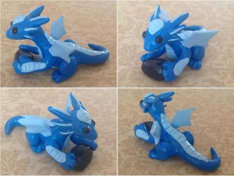 Blue Dragon with Polished Stone by ForestGlade
