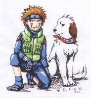 Kiba and Akamaru for Eda by Shel-chan