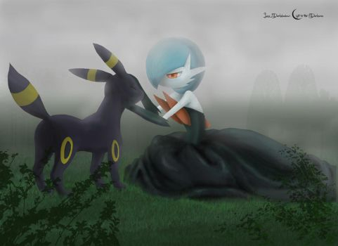 Shiny Mega Gardevoir and Umbreon by lucadarkshadow