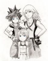 Sora, Riku and Kairi! by Cate397
