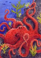 Red Octopus ATC by TabLynn