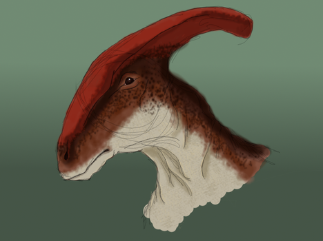 Anxiety Drawing #1: Parasaurolophus by Roselew