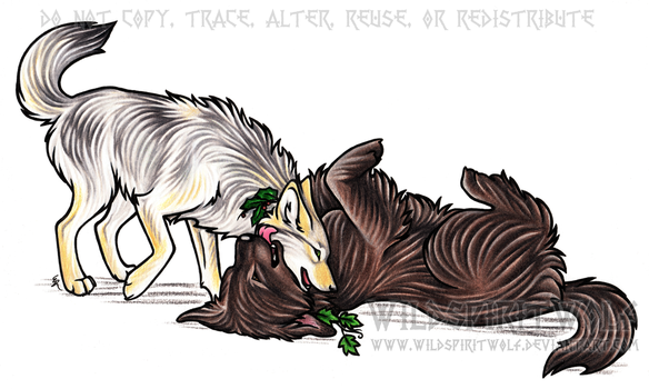 The Holly And The Ivy - Canine Cuddles Commission by WildSpiritWolf
