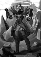 Quick Greyscale of Undyne Genocide by Ueichi