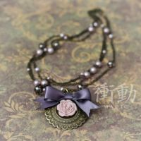 Lavender Bow and Rose Necklace by shoudoumagic