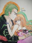 Zoro Nami colored by Cloudy by BelleLoveZoro