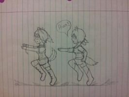 Katara being chased by Bonnie SKETCH by Code-Sonic