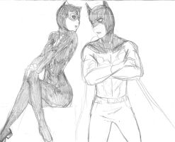 Young Batman and Catwoman - Sketch by KatyTorres