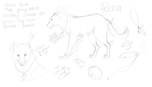 Rena Ref. sheet sketch :) by Alukei