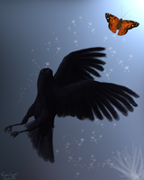 Crow chases the Butterfly by NishaBird