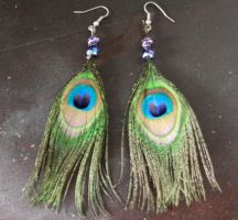 Peacock feather earrings by everythingerika
