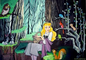 Aurora in the forest :) by WormholePaintings