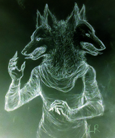 Two headed dog inverted by ScarecrowSpook