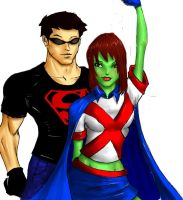 Superboy and Miss Martian. . .Go Team by justchrishere