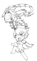 Atoli and Tails (Haseo BST) Lineart by DeadlyObsession
