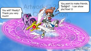 Nanoha teaches Twilight how to make friends by thedesertkitsune