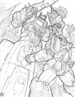 Star Convoy vs Galvatron lines by REX-203