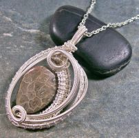 Woven Oval Fossil Coral and Silver Pendant by HeatherJordanJewelry
