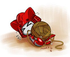 a kitty biting the caddice by umitaro