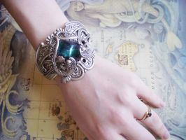 Sterling Silver Deep Ocean Cuff by Hidden-Treasury