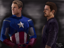 Captain America and Tony Stark by Miss-Kito