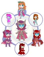 Assorted Chibis - AU Hexafusion 12 by Dragon-FangX