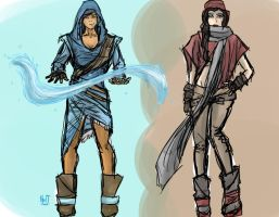 Fashionable Korra and Asami by northernwatertribe