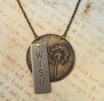 Dandelion Wish in Brass Necklace by FusedElegance