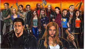 The Scoobies and Team Angel by olybear