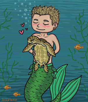 Merman RayK and Turtle by Quinsarqua