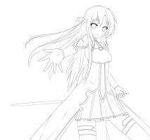 SAO line art for Asuna by Papurikato