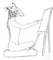 Work-in-Progress: Anthro Giraffe Painting a Monkey by Sheighness