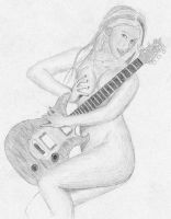 A Hott Naked Girl with Guitar by thetangyzip