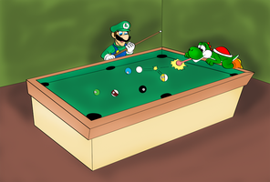 Luigi and Yoshi Cue ball by ZeFrenchM
