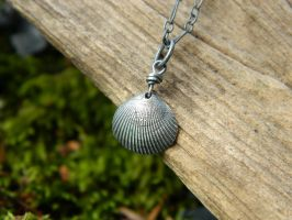Shell of the Sea -Clam -Fine Silver Pendant by QuintessentialArts