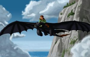 Toothless and Hiccup Flying by MichaelHoweArts