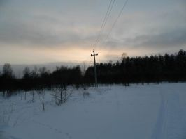 cross who supported the wires at sunset by osnovatel