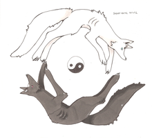 Yin Yang Wolves by PinkMelodii